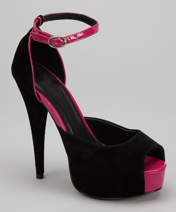 Black Marilyn Peep-Toe Pump