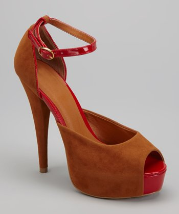 Camel Marilyn Peep-Toe Pump