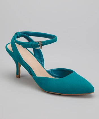 Teal Nicki Kitten Heel