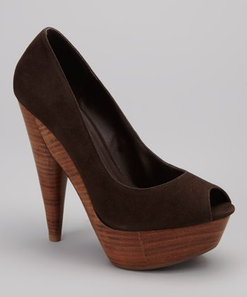 Brown Tim Peep-Toe Pump
