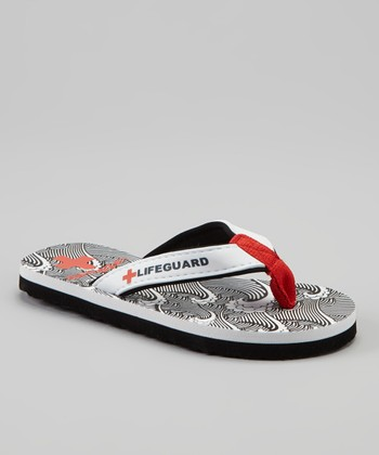 Black & White Wave Flip-Flop