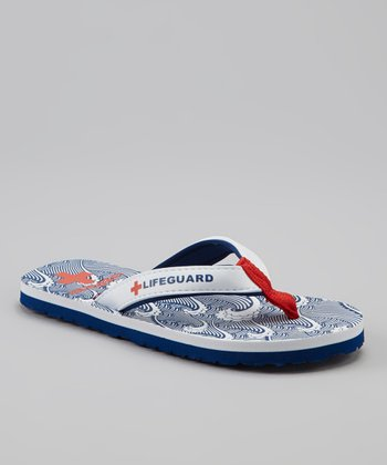 Navy & White Wave Drop Flip-Flop