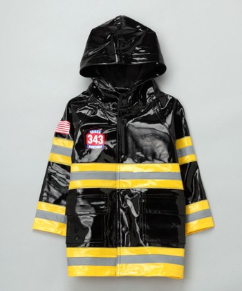 Black Firefighter Raincoat - Toddler