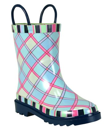 Blossom Plaid Rain Boot