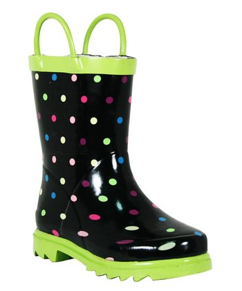 Green Dots Rain Boot