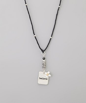 Silver 'Believe' Cross Charm Necklace