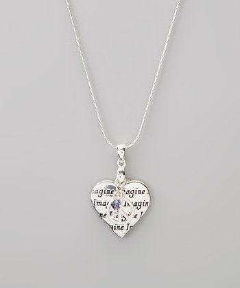 Silver 'Imagine' Heart Charm Necklace