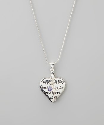Silver 'Love Faith Hope' Heart Charm Necklace
