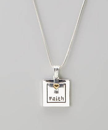 Silver 'Faith' Charm Necklace