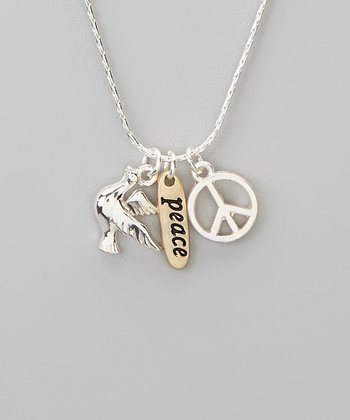 Silver 'Peace' Charm Trio Necklace