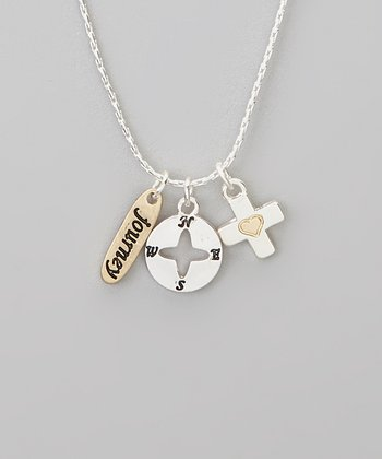 Silver 'Journey' Charm Trio Necklace