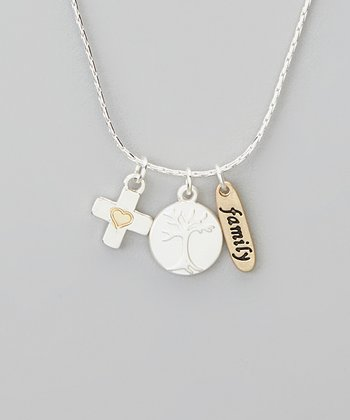 Silver 'Family' Charm Trio Necklace