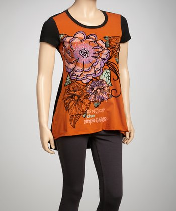 Orange Embellished 'Simple Things' Hi-Low Tee