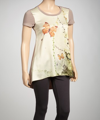 Khaki Embellished Butterfly Hi-Low Tee