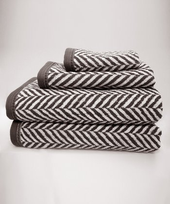 Gray & White Herringbone Towel Set