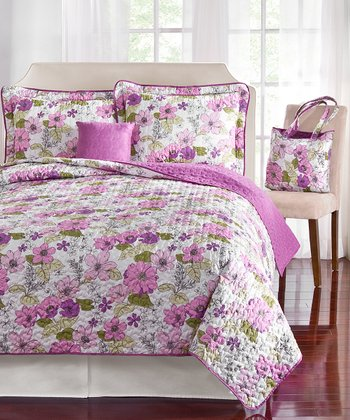 Garden Floral Five-Piece Quilt Set