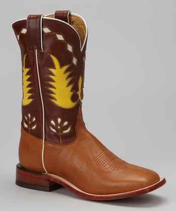 Brown & Yellow Saucy Monsta Cowboy Boot - Women