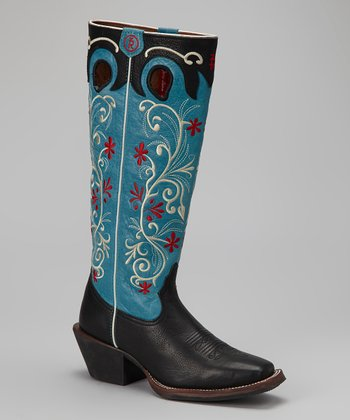 Black & Blue Tejas Cowboy Boot - Women