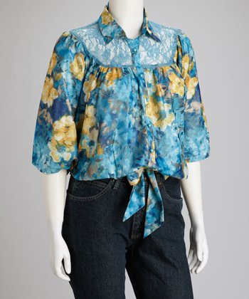 Blue Lace Floral Front-Tie Plus-Size Top