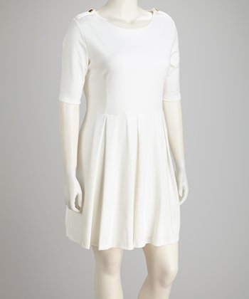 White Pleat Plus-Size Short-Sleeve Dress