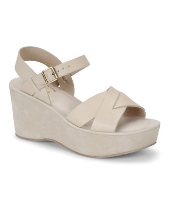 Eggshell Leather Ava Wedge Sandal