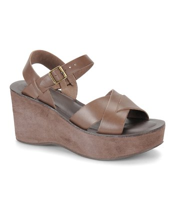 Light Chocolate Leather Ava Wedge Sandal