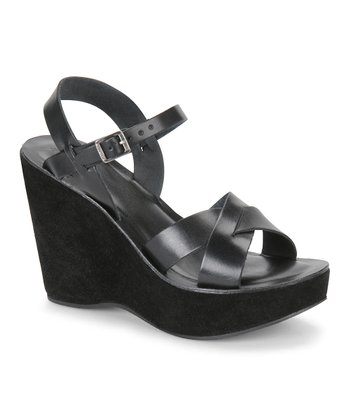 Black Polished Leather Bette Wedge Sandal