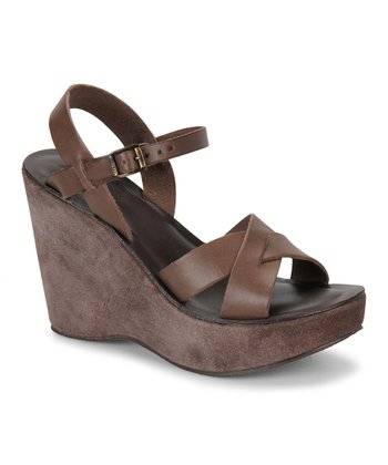 Chocolate Leather Bette Wedge Sandal