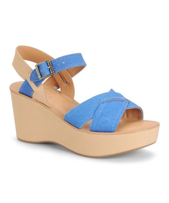 Blue Linen Leather Wedge Sandal