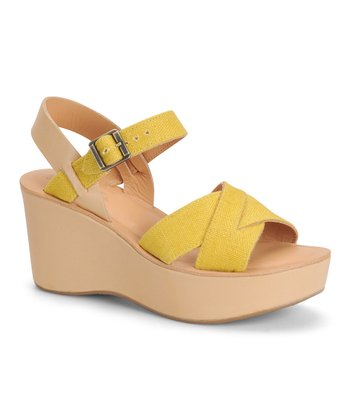 Yellow Linen Leather Wedge Sandal