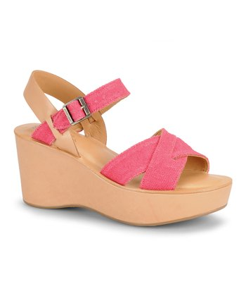 Pink Linen Leather Wedge Sandal