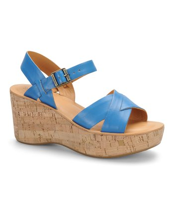 Reef Blue Leather Wedge Sandal