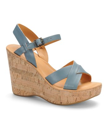 Orion Blue Leather Stacked Wedge Sandal