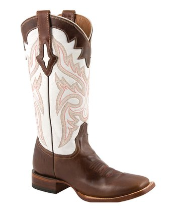 Natural & Chocolate Cowboy Boot - Women