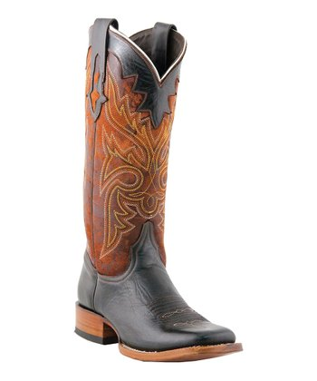 Black & Cognac Cowboy Boot - Women