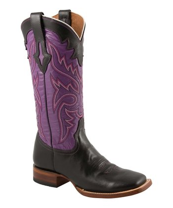 Black & Purple Cowboy Boot - Women