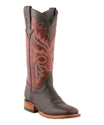 Chocolate & Red Embroidered Cowboy Boot - Women