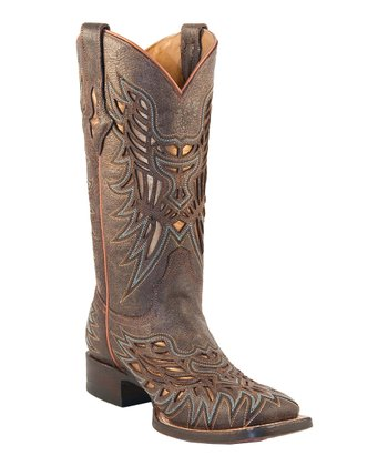 Chocolate Glitter Laser-Cut Cowboy Boot - Women