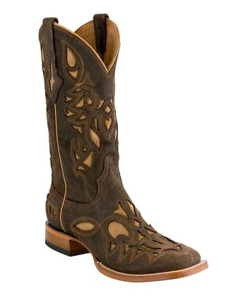 Chocolate Rustic-Calf Cowboy Boot - Men