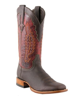 Chocolate & Red Oiled Cowboy Boot - Men