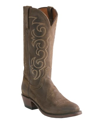 Olive Burnished Wax Comanche Cowboy Boot - Men