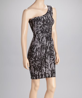 Black & Gray Asymmetrical Dress