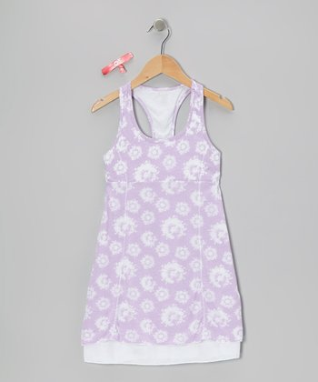 Purple Paint Flowers Ella Dress & Hair Tie