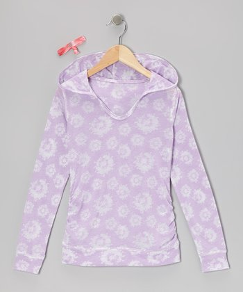 Purple Paint Flowers Abby Hoodie & Hair Tie
