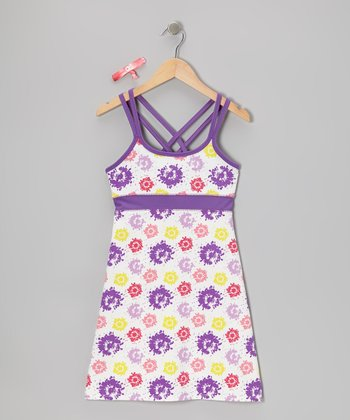 Purple Paint Flowers Carissa Dress & Hair Tie