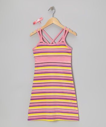 Purple Stripe Carissa Dress & Hair Tie
