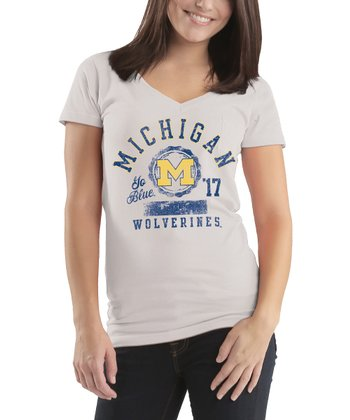 White Michigan Wolverines Harper Tee - Women