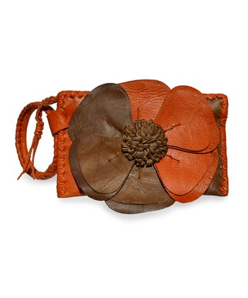 Orange & Tan Natalie Wristlet