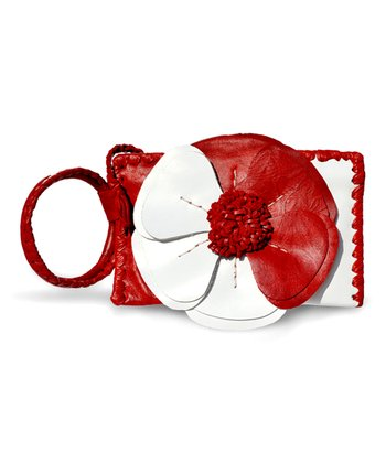 Red & White Natalie Wristlet
