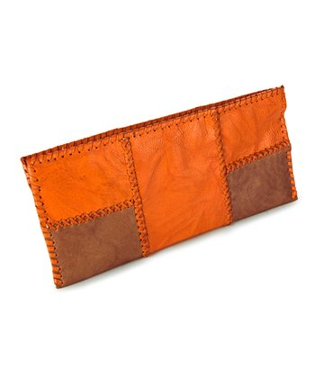 Orange & Tan Camille Clutch